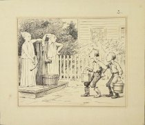Image of [Two boys with buckets encountering two ghosts at the well] - Frost, Arthur Burdett, 1851-1928